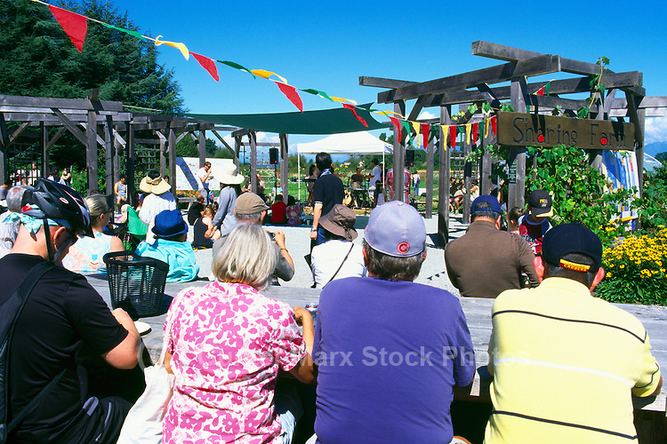 5th Annual Garlic Festival, August 2013 (hosted by The Sharing Farm) at Terra Nova Rural Park, Richmond, BC, British Columbia, Canada - Garlic Lovers listen to Live Music