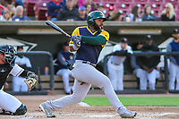 Beloit Snappers outfielder Logan Farrar (11) swings at a pitch during a Midwest League game against the Wisconsin Timber Rattlers on May 17, 2018 at Fox Cities Stadium in Appleton, Wisconsin. Beloit defeated Wisconsin 8-7. (Brad Krause/Four Seam Images)