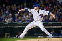 Chicago Cubs pitcher Jon Lester (34) delivers a pitch in the third inning during Game 5 of the Major League Baseball World Series against the Cleveland Indians on October 30, 2016 at Wrigley Field in Chicago, Illinois.  (Mike Janes/Four Seam Images)