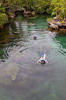 Snorkling in one of the Waterways, Xel Ha Eco-adventure Park, Playa del Carmen, Riviera Maya, Yucatan, Mexico.