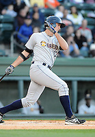 Infielder Gregory Bird (32) of the Charleston RiverDogs in a game against the Greenville Drive on Opening Day, Friday, April 5, 2013, at Fluor Field at the West End in Greenville, South Carolina. (Tom Priddy/Four Seam Images)