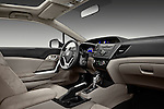 Passenger side dashboard view of a 2012 Honda Civic Coupe EX..