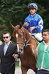 Flashing and Javier Castellano in the paddock before the Mother Goose at Belmont Park 6/27/09.