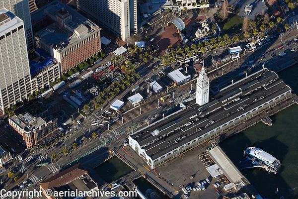 aerial photograph Super Bowl City, Ferry Building and Embarcadero during Superbowl 50, San Francisco, California