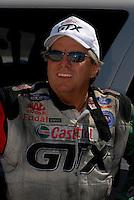 Apr 8, 2006; Las Vegas, NV, USA; NHRA Funny Car driver John Force, driver the Castrol GTX Ford Mustang after qualifying for the Summitracing.com Nationals at Las Vegas Motor Speedway in Las Vegas, NV. Mandatory Credit: Mark J. Rebilas