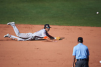 Glendale Desert Dogs shortstop Chan Jong Moon (39) makes a diving attempt at a ball up the middle during an Arizona Fall League game against the Mesa Solar Sox on October 14, 2015 at Sloan Park in Mesa, Arizona.  Glendale defeated Mesa 7-6.  (Mike Janes/Four Seam Images)