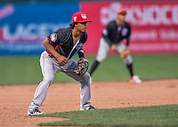 31 August 2016: Tri-City ValleyCat infielder Rodrigo Ayarza in action against the Vermont Lake Monsters at Centennial Field in Burlington, Vermont. The Lake Monsters defeated the ValleyCats 5-3 in NY Penn League action. Mandatory Credit: Ed Wolfstein Photo *** RAW (NEF) Image File Available ***