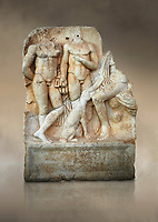 Roman Sebasteion relief  sculpture of  Three Heroes and a Dog Aphrodisias Museum, Aphrodisias, Turkey. Against an art background.<br /> <br /> Two heroes stand in front of a third hero who ia seated on a rock and pats the head of a bitch hound. They are hunters and the relief is partnered by the reliefs of Melager and Atalante and Meleaner and boar