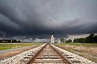 Severe Thunderstorm Above Railroad Tracks & Grain Silo in Langdon, KS, May 20, 2011