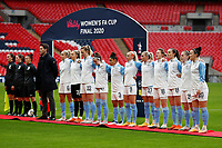 1st November 2020; Wembley Stadium, London, England; Womens FA Cup Final Football, Everton Womens versus Manchester City Womens; Manchester City Women Head Coach Gareth Taylor, Steph Houghton, Goalkeeper Ellie Roebuck, Sam Mewis, Rose Lavelle, Demi Stokes, Chloe Kelly, Alex Greenwood, Ellen White, Ellen White, Caroline Weir, Keira Walsh and Lucy Bronze of Manchester City Women all stand for the national anthem before kick off