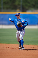 Toronto Blue Jays second baseman Mattingly Romanin (8) throws to first base during a minor league Spring Training game against the New York Yankees on March 30, 2017 at the Englebert Complex in Dunedin, Florida.  (Mike Janes/Four Seam Images)