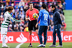 Takashi Inui of SD Eibar (L) Fifa Referee Alberola Rojas (C) with special guest Javier Fernandez, Spanish Figure Skater who kick-off the match (R) and #10 Gaku Shibasaki of Getafe CF (B) during the La Liga 2017-18 match between Getafe CF and SD Eibar at Coliseum Alfonso Perez Stadium on 09 December 2017 in Getafe, Spain. Photo by Diego Souto / Power Sport Images