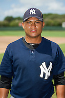 GCL Yankees 2 catcher Alvaro Noriega (95) poses for a photo before a game against the GCL Phillies on July 22, 2013 at Carpenter Complex in Clearwater, Florida.  GCL Yankees defeated the GCL Phillies 2-1.  (Mike Janes/Four Seam Images)