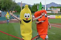 The Vegetable Race between innings as the Las Vegas 51s played the Salt Lake Bees at Smith's Ballpark on May 8, 2014 in Salt Lake City, Utah.  (Stephen Smith/Four Seam Images)