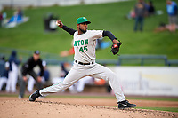 Clinton LumberKings relief pitcher Ronald Dominguez (45) delivers a pitch during a game against the West Michigan Whitecaps on May 3, 2017 at Fifth Third Ballpark in Comstock Park, Michigan.  West Michigan defeated Clinton 3-2.  (Mike Janes/Four Seam Images)