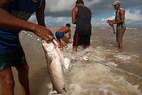 Antônio Zeferino Santos Costa, 57 (camiseta preta) conhecido como Jagunço, e Raimundo Ferreira da Silva, 51 (sunga azul) conhecido como Cambeua retiram peixes da rede montada em um banco de areia a cerca de 3 km no litoral do Pará, na foz do rio Amazonas. Os pescadores chegam a capturar cerca de 200 quilos de pescado por dia entre: piramutabas, sardinhas, filhotes, pescada amarela, robalo e tainhas.<br />  Curuçá, Pará, Brasil. <br /> Foto: Paulo Santos<br />  17/05/2009