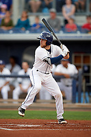 Charlotte Stone Crabs catcher Brett Sullivan (8) at bat during a game against the Palm Beach Cardinals on April 11, 2017 at Charlotte Sports Park in Port Charlotte, Florida.  Palm Beach defeated Charlotte 12-6.  (Mike Janes/Four Seam Images)