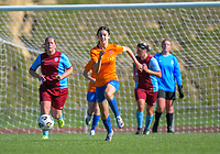 Action from the Capital Women's Premier football match between Wellington United Sapphires and North Wellington at Newtown Park in Wellington, New Zealand on Saturday, 24 April 2021. Photo: Dave Lintott / lintottphoto.co.nz