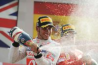 PODIUM WITH WINNER,MCLAREN MERCEDES BRITISH DRIVER,LEWIS HAMILTON HERE WITH CHAMPAGNE NEXT TO FERRARI SPANISH DRIVER FERNANDO ALONSO FINISHING THIRD .Monza 9/9/2012 .Formula 1.Foto Insidefoto / Bernard Asset / Panoramic .Italy Only