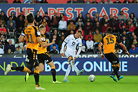 Sam Surridge of Swansea City in action during the Carabao Cup Second Round match between Swansea City and Cambridge United at the Liberty Stadium in Swansea, Wales, UK. Wednesday 28, August 2019.