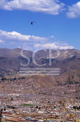 Cusco, Peru. View of Cusco with football stadium from Sacsayhuaman.