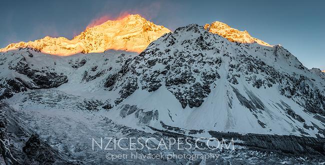 Sun rises on Caroline Face of Aoraki,Mount Cook 3724m with Ball Glacier below, Aoraki, Mount Cook National Park, UNESCO World Heritage, Mackenzie Country, South Island, New Zealand, NZ