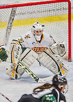 1 February 2015: University of Vermont Catamount Goaltender Madison Litchfield, a Sophomore from Williston, VT, in third period action against the visiting Providence College Friars at Gutterson Fieldhouse in Burlington, Vermont. The Lady Cats defeated the Friars 7-3 in Hockey East play. Mandatory Credit: Ed Wolfstein Photo *** RAW (NEF) Image File Available ***