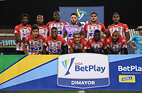 MONTERÍA- COLOMBIA, 30-03-2021:Jugadores del Atlético Junior  posan para una foto previo al partido por la fecha 16 entre el Jaguares de Córdoba y Atlético Junior  como parte de la Liga BetPlay DIMAYOR 2021 jugado en el estadio Jaraguay-Municipal de Montería de la ciudad de Montería. / Players of Atletico Junior pose to a photo prior Match for the date 16 between Jaguares de Cordoba and Atletico Junior as part of the BetPlay DIMAYOR League I 2021 played at Jaraguay-Municipal de Montería stadium in Monteria city. Photo: VizzorImage / Felipe López / Contribuidor