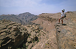 """Climbing path above the rift on the trek from """"Little Petra"""" to El Deir temple. Middle East. Jordan. Petra"""