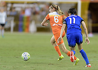 Houston, TX - Sunday Sept. 25, 2016: Morgan Brian, Keelin Winters during a regular season National Women's Soccer League (NWSL) match between the Houston Dash and the Seattle Reign FC at BBVA Compass Stadium.