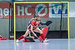 Mannheim, Germany, December 01: During the Bundesliga indoor women hockey match between Mannheimer HC and Nuernberger HTC on December 1, 2019 at Irma-Roechling-Halle in Mannheim, Germany. Final score 7-1. Leah Loersch #14 of Mannheimer HC<br /> <br /> Foto © PIX-Sportfotos *** Foto ist honorarpflichtig! *** Auf Anfrage in hoeherer Qualitaet/Aufloesung. Belegexemplar erbeten. Veroeffentlichung ausschliesslich fuer journalistisch-publizistische Zwecke. For editorial use only.