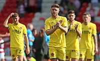 Fleetwood Town's Wes Burns applauds the fans at the final whistle <br /> <br /> Photographer David Shipman/CameraSport<br /> <br /> The EFL Sky Bet League One - Doncaster Rovers v Fleetwood Town - Saturday 17th August 2019  - Keepmoat Stadium - Doncaster<br /> <br /> World Copyright © 2019 CameraSport. All rights reserved. 43 Linden Ave. Countesthorpe. Leicester. England. LE8 5PG - Tel: +44 (0) 116 277 4147 - admin@camerasport.com - www.camerasport.com