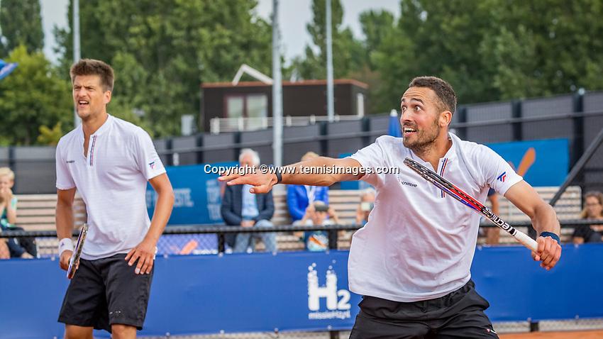 Amstelveen, Netherlands, 1 August 2020, NTC, National Tennis Center, National Tennis Championships, Men's Doubles final: Sander Arends and David Pel (NED) (R)<br /> Photo: Henk Koster/tennisimages.com