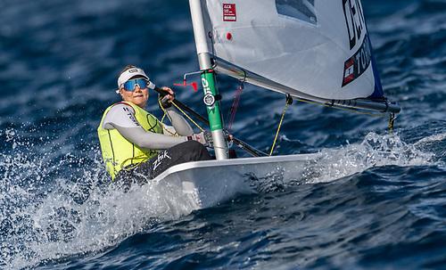 Denmark's Anne-Marie Rindom, bronze medallist in Rio in 2016 has taken four race wins so far in Vilamoura to lead the regatta by eight points