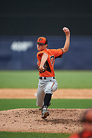 Pitcher Andrew Schultz (17) of Greater Atlanta Christian School in Alpharetta, Georgia playing for the Baltimore Orioles scout team during the East Coast Pro Showcase on July 28, 2015 at George M. Steinbrenner Field in Tampa, Florida.  (Mike Janes/Four Seam Images)