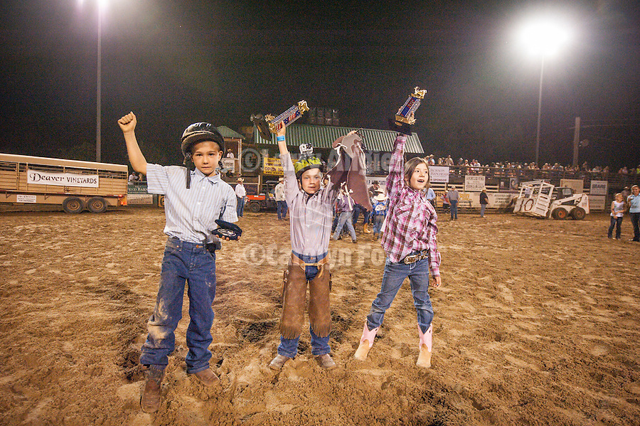 74th Amador County Fair, Plymouth, Calif...Winners at the Mutton Bustin' finals, Rodeo