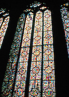 Details of a stained glass window in Sainte-Chapelle, Paris, France.