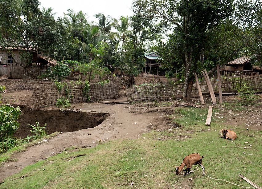 """The Panmaung village at the Lay Mro River and home of the """"spider women"""" from the Chin Tribe, ethnic minorities in the Rakhine State of Myanmar."""