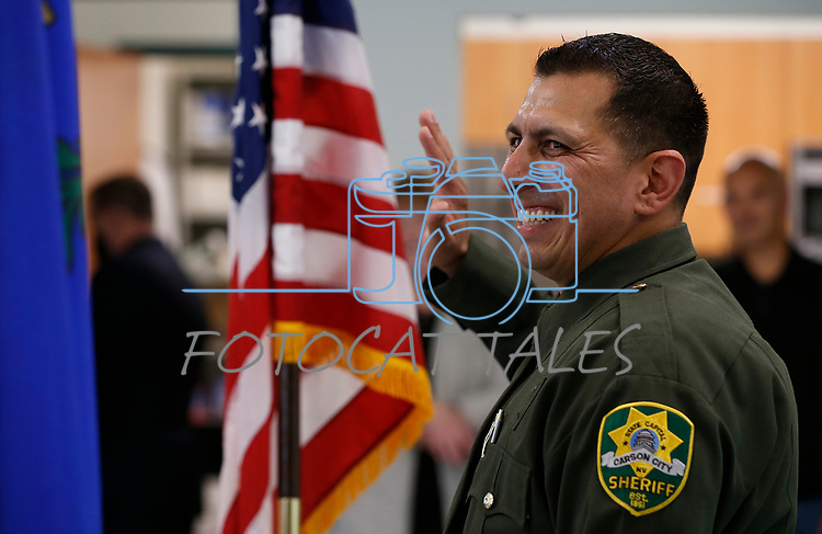 Lt. Daniel Gonzales takes the oath of office during a promotion ceremony at Carson City Sheriff's Office, in Carson City, Nev., on Thursday, July 2, 2020. <br /> Photo by Cathleen Allison
