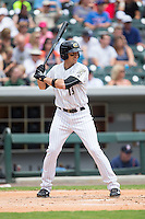 Trayce Thompson (15) of the Charlotte Knights at bat against the Gwinnett Braves at BB&T BallPark on July 3, 2015 in Charlotte, North Carolina.  The Braves defeated the Knights 11-4 in game one of a day-night double header.  (Brian Westerholt/Four Seam Images)