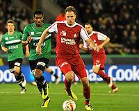 Cercle Brugge KSV - KV Kortrijk : Dalibor Veselinovic aan de bal voor de spurtende Renato Neto.foto VDB / BART VANDENBROUCKE
