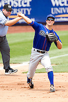 Erik Wetzel (1) of the Tulsa Drillers throws to first during a game against the Springfield Cardinals at Hammons Field on June 27, 2011 in Springfield, Missouri. (David Welker / Four Seam Images)
