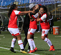 BOGOTÁ- COLOMBIA,17-07-2019:Paola Sánchez jugadora de Independiente Santa Fe  femenino  celebra después de anotar un gol a Millonarios femenino  durante el 3 partido de la Liga Águila Femenina 2019 jugado en el estadio Metropolitano de Techo de la ciudad de Bogotá. /Paola Sanchez player of Independiente Santa Fe  celebrates after scoring a goal agaisnt of Millonarios during the third match for the Liga Aguila women  2019 played at the Metropolitano de Techo stadium in Bogota city. Photo: VizzorImage / Felipe Caicedo / Staff