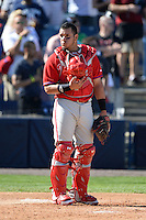 """Philadelphia Phillies catcher Sebastian Valle (62) during """"God Bless America"""" in the seventh inning stretch during a spring training game against the New York Yankees on March 1, 2014 at Steinbrenner Field in Tampa, Florida.  New York defeated Philadelphia 4-0.  (Mike Janes/Four Seam Images)"""