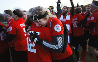 08 MAR 2015 - NOTTINGHAM, GBR - Southampton Quidditch Club 1's Imogen Gregg celebrates the teams 120-90 2015 British Quidditch Cup final victory over Radcliffe Chimeras at Woollaton Hall and Deer Park in Nottingham, Great Britain with team mate Jemma Thripp  (PHOTO COPYRIGHT © 2015 NIGEL FARROW, ALL RIGHTS RESERVED)