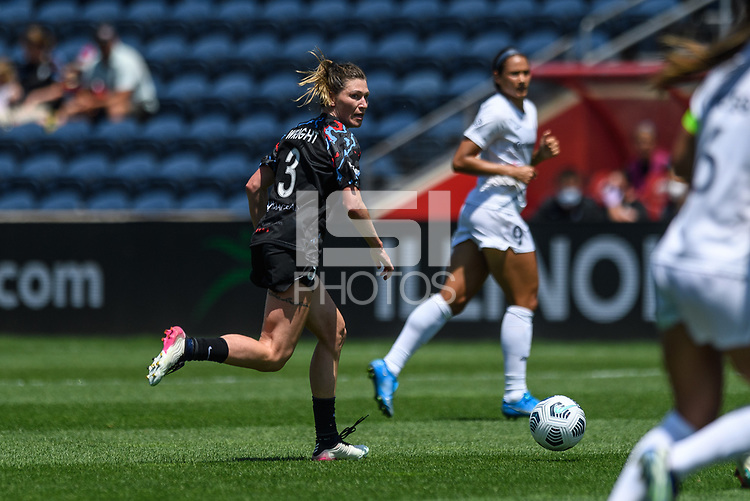 BRIDGEVIEW, IL - JUNE 5: Arin Wright #3 of the Chicago Red Stars dribbles the ball during a game between North Carolina Courage and Chicago Red Stars at SeatGeek Stadium on June 5, 2021 in Bridgeview, Illinois.