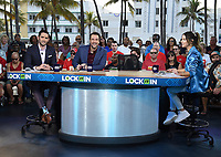 """MIAMI BEACH, FL - JANUARY 31: Todd Fuhrman, Clay Travis, and Rachel Bonnetta on the set of """"Lock It In"""" on the Fox Sports South Beach studio during Super Bowl LIV week on January 31, 2020 in Miami Beach, Florida. (Photo by Frank Micelotta/Fox Sports/PictureGroup)"""