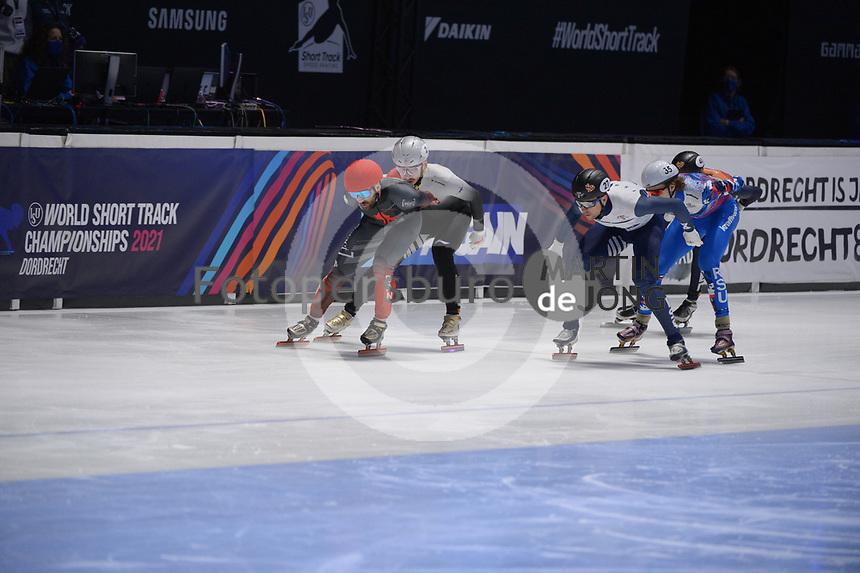SPEEDSKATING: DORDRECHT: 07-03-2021, ISU World Short Track Speedskating Championships, QF 1000m Men, Charles Hamelin (CAN), Shaolin Sandor Liu (HUN), Vladislav Bykanov (ISR), ©photo Martin de Jong