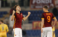 Calcio, Serie A: Roma vs Frosinone. Roma, stadio Olimpico, 30 gennaio 2016.<br /> Roma's Stephan El Shaarawy, left, celebrates past his teammate Edin Dzeko after scoring during the Italian Serie A football match between Roma and Frosinone at Rome's Olympic stadium, 30 January 2016.<br /> UPDATE IMAGES PRESS/Isabella Bonotto