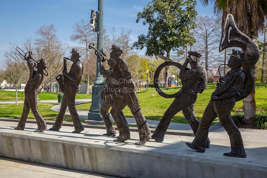 New Orleans, Louisiana.  Louis Armstrong Park.  Sculpture to New Orleans Marching Brass Bands.  Sculptor Sheleen Jones-Adenle, 2010.